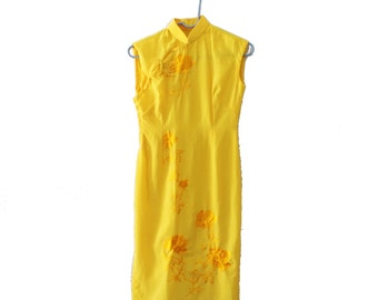 Vintage 60s Asian Golden Yellow Floral Embroidered Dress - Women XS Small, Mandarin Collar