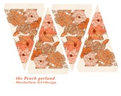 Floral Garland / Bunting in Peach Party Decoration 4x6 Printable
