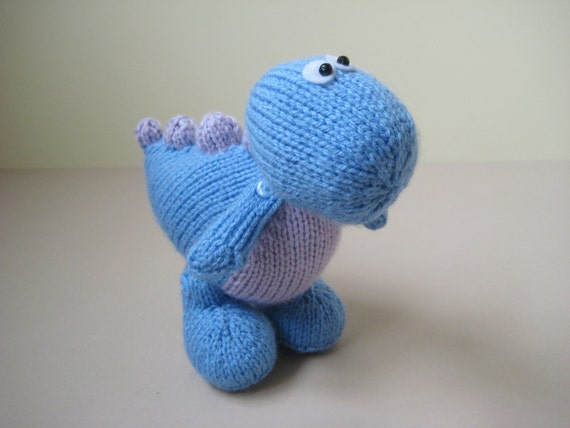 Dippy the Dinosaur toy knitting pattern by fluffandfuzz on Etsy