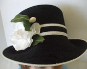 Black White Straw Hat / White Rose - by Frank Clive - Saks 5th Avenue - Vintage  - Original Box - Designer Hats - Gifts - #1559