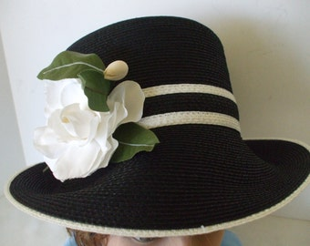 Black White Straw Hat / White Rose - by Frank Clive - Saks 5th Avenue - Vintage  - Original Box - Designer Hats - Gifts - #1559