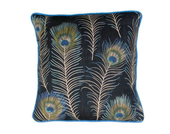 "Cushion, throw pillow, home decor, Sanderson ""Themis "" peacock feathers design green, turquoise blue, black, linen mix fabric."