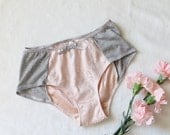 Sale! Pink Satin and Grey Hipster Boyleg Panties With White Lace Size Small