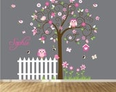 Children's Wall Decal - Baby Wall Decal - Nursery Wall Decal - Girl - Baby - Owl Branch Decal - Nursery Decals - Swirl Tree Decal - Fence