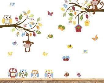 Nursery Wall Decal - Baby Wall Decal - Nursery Wall Decal - Girl - Baby - Owl Branch Decal - Kids Wall Decals - Nursery Decals