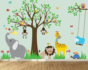 wall decals for kids, nursery wall art, jungle wall stickers, baby wall stickers, tree decals, jungle theme nursery, room stickers,