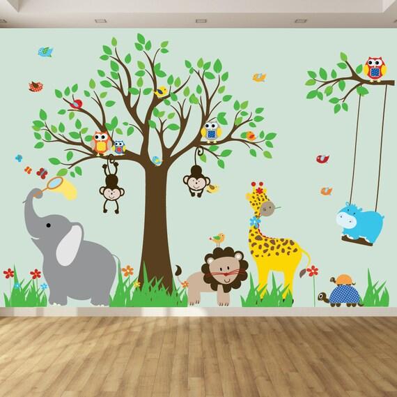 Kids Safari Bathroom Set: Wall Decals For Kids Nursery Wall Art Jungle Wall Stickers