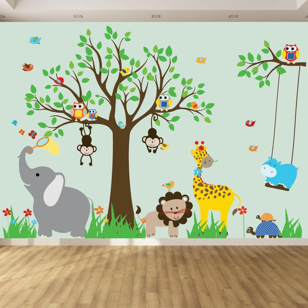 Vinyl wall decal childrens wall decal jungle safari tree - Dibujo pared habitacion infantil ...