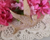 4pcs - (40x40mm) Pretty Gold Swallow Bird Cabochon - Pale Rose with Gold