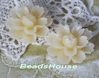 710-00-CA   4pcs ( 18 x 27mm) Beautiful  Chrysanthemum Resin Flower Cabochons-Pale Ivory