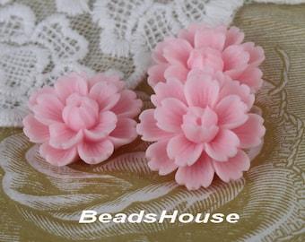 710-00-CA   4pcs (18 x 27mm) Beautiful  Chrysanthemum Resin Flower Cabochons-Pink
