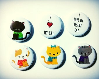 Cat Magnets, Cat Pins, I Love My Cat magnet, set of three 1 inch,  made on recycled paper