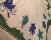 """VINTAGE LINEN TABLECLOTH LaRgE Mid Century Blue and Green Turquoise Leaves 60"""" X 72"""" Autumn Tablecloth 1970s Table Cloth at Modern Logic"""