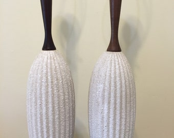 LOFTY LAMP PAIR Mid Century Modern Danish Modern Style Off White and Wood Organic and Earthy Lamps of Ceramic and Wood at Modern Logic