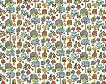 1 Yard Organic Cotton KNIT Fabric - Birch Picnic Whimsy - Mushroom Forest