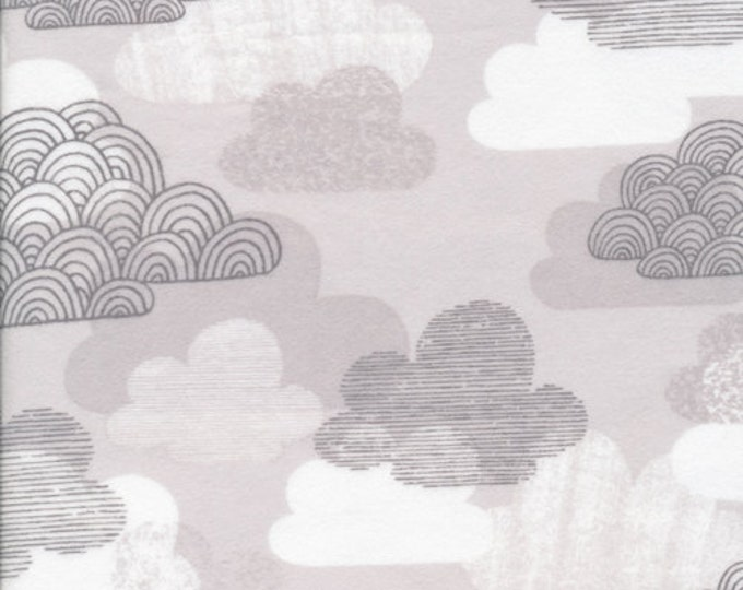 Organic FLANNEL Fabric - Cloud9 First Light - Passing Clouds Gray Flannel - Prewashed