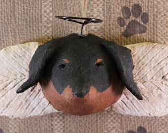 Doxie Angel Ornament, OOAK, hand-sculpted from papier mache, DOXIE ANGEL
