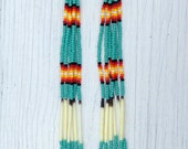 "Native American style 6 1/2"" Long Turquoise Beaded Porcupine Quill Earrings"