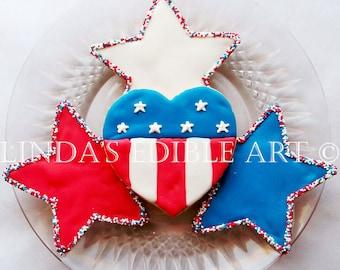 Stars and Stripes Flag Cookies 1 Dozen (12)