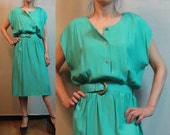 R E S E R V E D 80s TURQUOISE SHIRTWAIST BELTED vtg Green Blue Button Down Short Sleeve Rayon Shirt Midi Dress Belt m/l Large 1980s