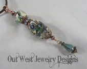 Lampwork Bead Necklace - Handtorched Pendant with Austrian and Chinese Crystal SRAJD