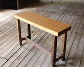 reclaimed bowling alley sofa/ console/ hall table - but not like the rest