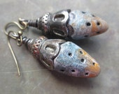 Buds. polymer clay earrings primitive rustic boho jewelry