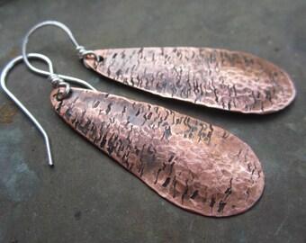 My Zen. handmade copper drops sterling silver ear wires rustic primitive boho jewelry