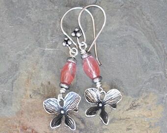 Pink Flower Earrings, Strawberry Quartz Earrings, Natural Stone Earrings, Pink Earrings, Silver Earrings, Handmade Earrings, Summer Earrings
