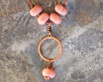Peach Necklace, Natural Stone Necklace, Pink Aventurine Necklace, Hoop Necklace, Copper Necklace, Fall Necklace, Beaded Necklace