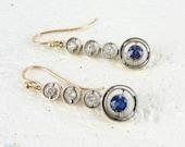 Sapphire & Diamond Drop Earrings, Bezel Set Graduated Design Dangle Earings in 15 Carat Rose Gold with Platinum Tops, Victorian 1900s.
