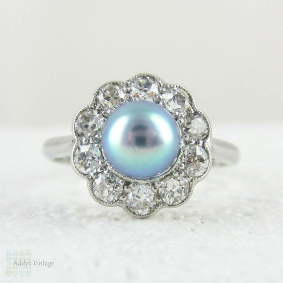 Antique Cultured Pearl Engagement Ring with Old Mine Cut by Addy