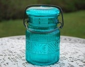 Vintage Avon Pint Wire-Side Turquoise/Teal Mason Style Jar