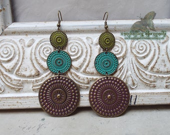 Bohemian Gypsy Rustic Verdigris Tribal  Earrings ~ with Aged Brass Patina