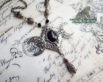 The High Priestess - Triple Moon Goddess Aged Silver Filigree  Jet & Amethyst Crystal Necklace