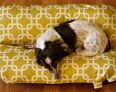 MEGA Bunbed Modern Green Squares, Dachshund Dog Bed, Small Dogs, Modern Mid Century Decor, Hot Dog Bed, Dachshund Bed, Dog Burrow Bed