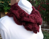 READY To SHIP Neck Warmer Scarf, Buttoned Cowl, OOAK Dark Solid Wine Red Maroon, Thick Crochet Knit Winter Wool Blend, Ruffles, Wood Button