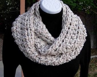 INFINITY SCARF Loop Cowl, Off White Wheat Ivory w/ Black, Brown, 100% Acrylic Bulky Thick Crochet Knit Winter Wrap..Ready to Ship in 2 Days