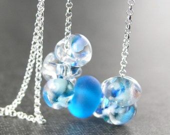 Ocean Blue Drop Necklace Sterling Silver Artisan Lampwork Necklace Blue Aqua Glass Necklace Blue Beaded Chain Necklace Sterling Necklace