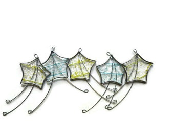 Stained Glass Shooting Stars - Set of 5 in Yellow & Turquoise Confetti Glass