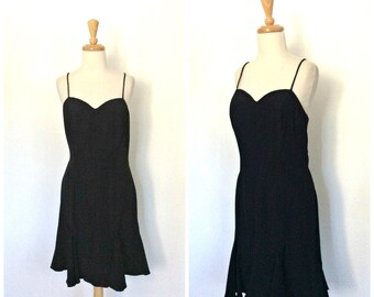 Vintage Little Black Dress - trumpet dress - spaghetti strap - lbd - holiday party dress - small medium