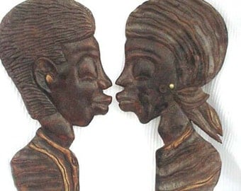 Pair of Black Man and Woman Wood Wall Plaques Home and Garden Decor Plaques Black Memorabilia Black Americana Collectibles