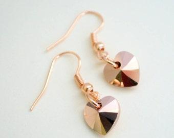 Crystal Heart Earrings, Rose Gold Earrings, Heart Earrings, Swarovski Crystal Hearts