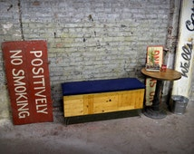 Reclaimed Wood and Denim Storage Trunk