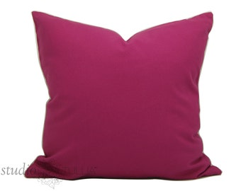 Fuchsia Pink Decorative Pillow Cover - bright pink - 20 inch - pink cotton - ready to ship