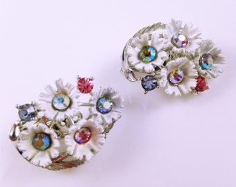 Rhinestone Earrings, Vintage Jewelry, Enamel Lisner Earrings, Colorful Floral Earrings, Lisner Jewelry, Pastel Rhinestone Clip On Earrings