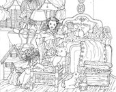 COLORING PAGE Printable Art Instant Download Pen Drawing Coloring Page, Little Girlfriends, Dolls, Bedroom,Nostalgia, Girls Room decor