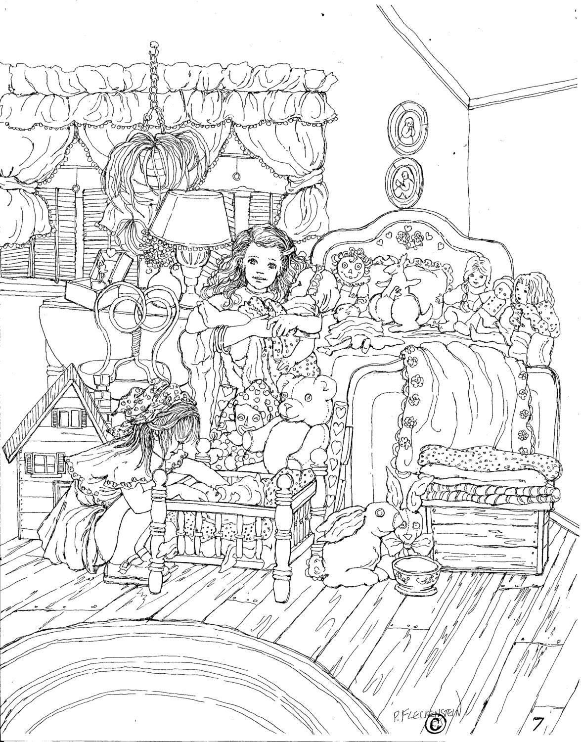 Coloring pages for bedroom - Adult Coloring Page Printable Art Instant Download Pen Drawing Coloring Page Little Girlfriends Dolls