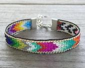 Metallic Rainbow Chevron Handmade Beaded Bracelet