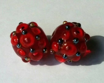 Red on Red, Bumpy Beads - Handmade Lampwork Beads - SRA - UK